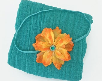Turquoise Cheesecloth Wrap and Orange Yellow Flower Headband - Newborn Posing Photo Prop, Baby Shower Gift Fall Photography Prop
