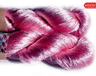 Viscose yarn Viscose Silk Yarn natural viscose yarn Shining, Superfine / Lace weight bright crochet yarn Ajur color light pink (500) DSH(P2)