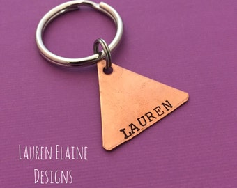 "Custom Hand Stamped 1"" Triangle Keychains- You Personalize- In Aluminum, Brass, or Copper"