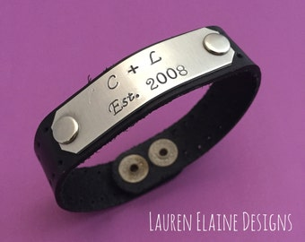 Custom Hand Stamped Leather Bracelets with Aluminum Charm (Pick your Phrase, Font, Color)