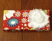 Sale Riley Blake Red, White, Blue and Yellow Floral Diaper Strap with Matching White Frayed Shabby Chiffon Flower