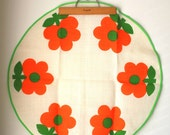 Vintage Circular Tablecloth with Mod Orange Flowers and Green Trim