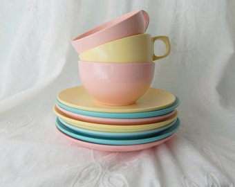 Vintage Melamine Cups, Saucers, and Plates, Instant Collection