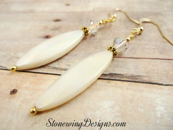 Mother of Pearl Earrings, Mother-of-Pearl Earrings, Mother of Pearl & Swarovski Earrings, Long Oval Earrings, White Earrings, Classic style