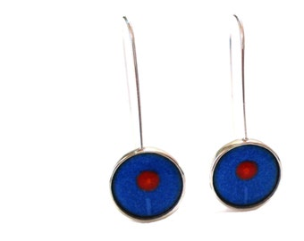 Sterling silver enamel flower earrings vitreous enamel jewelry fired on silver blue red sgraffito dangle earrings drop earrings