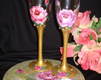 Hand Painted Toasting Flutes W/Rose Design
