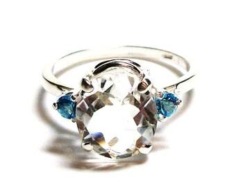 """Quartz, white quartz, quartz ring,  3 stone ring, multi stone ring, white blue, s 7 1/2 """"Fresh water blue"""""""