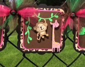 Jungle / safari animals baby shower, it's a girl banner, hot pink, leopard print, photo prop