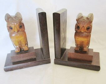 Vintage German Black Forest Handcarved Owl Bookends