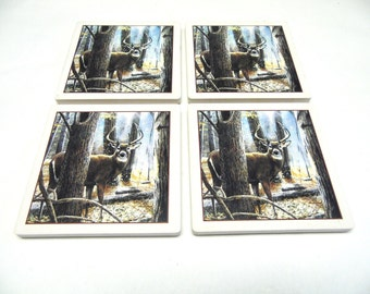 Buck Deer Stag Ceramic Tile Coasters Set of 4