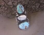 3 Stone Turquoise and White Buffalo Ring