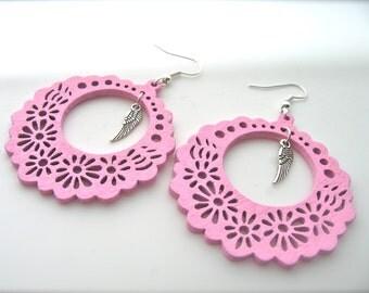 Wooden Earrings, pink Earrings, Hoop Earrings. Bright Earrings. Flower Floral,feathers earrings