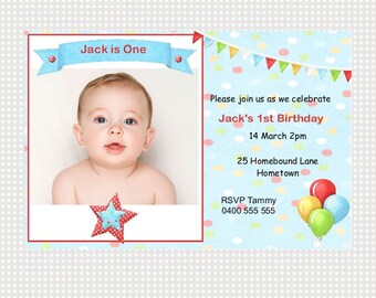 First Birthday Invitation Boy Printable Personalized
