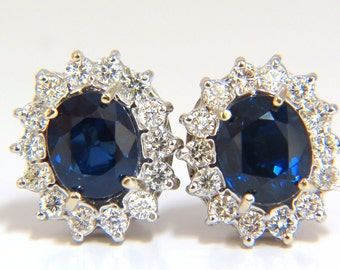 7.80CT Swiss Dunaigre No Heat Natural Sapphire Diamond Earrings 18KT
