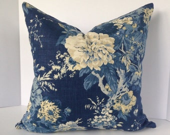 Ballard Bouquet Indigo Floral Decorative Pillow Cover