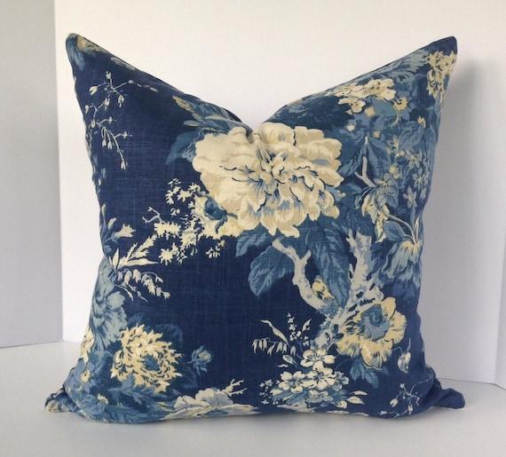 Ballard Bouquet Indigo Floral Decorative Pillow Cover in