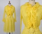 1960s dress/ 60s cotton ruffle dress/ mini dress