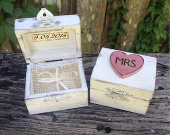 Ring Bearer Boxes You Pick Your Color Romantic Antique Vintage Inspired Cottage Chic  Alternative Ring Pillow