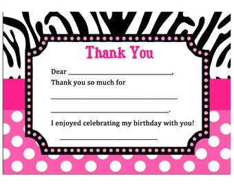 Hot Pink Zebra Thank You Printable - Instant Download