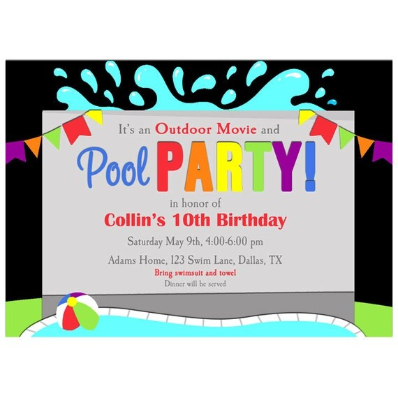 outdoor movie pool party invitation printable or printed with free