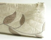 Silver Embroidered Wedding Clutch, Ivory Purse for Bride, Mother of the Bride Gift, Ivory Clutch Handbag