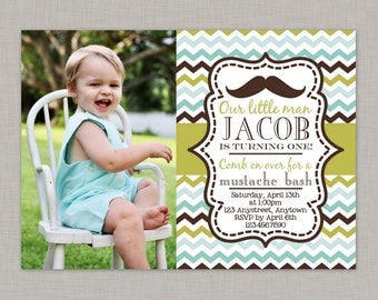 Little Man Invitation, Mustache Bash, Mustache Invitation