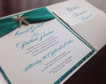 Little Mermaid Wedding Invitation - Beach Wedding Invitation