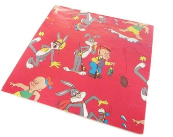 Vintage Wrapping Paper - Bugs Bunny and Elmer Fudd Gift Wrap -  One Sheet - Tuttle - 1978