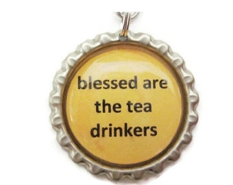 Tea Infuser with Bottle Cap Charm - Blessed are the tea drinkers -  2 Inch Tea Ball
