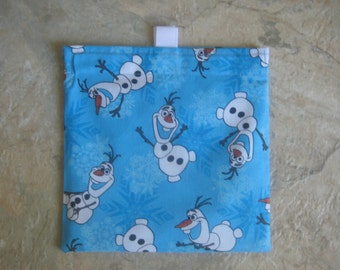 Frozen's Olaf - Reusable Sandwich Bag/Snack Bag with easy open tabs