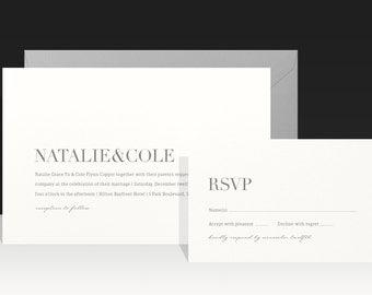 Modern Elegant Wedding Invitation - Romantic Grey Ivory Cream Wedding Invitations - Rustic Kraft Wedding Invites by Paperee - Natalie