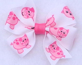 Piggy Hair Bow~Hair Bows with Pigs~Basic Hair Bows~Small Hair Bow~Pig Hair Bows~Boutique Hair Bows~4-H Hair Bows~Pig Hair Bows~Hairbows~Bows