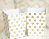 10 Mini Gold Foil Polka Dot Birthday Wedding Bridal Shower Chic Party Popcorn Treat Favor Boxes