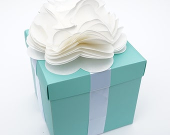 Robin Egg Blue Centerpiece Flower Box with Lid and Self Adhesive Satin Ribbon & Ivory Tissue Paper Flower Bow