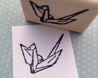 Paper Crane Wood Mounted Rubber Stamp 6409