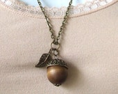 "Acorn Necklace, Acorn Pendant Necklace, 24"" Antique Looking Chain, Nature Jewelry,Gift for her, Gift Under 20"