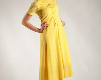 Yellow dress, summer dress, knitted sleeves dress, midi dress, high collar dress, shirtdress, buttoned dress, ecofriendly, recycled