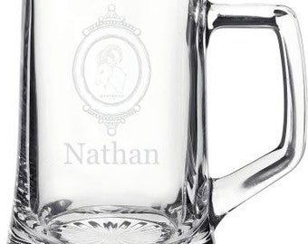Personalized 15oz Glass Beer Stein Groomsmen Gift - Father's Day Gift - Wedding Gift - Boyfriend Gift - Beer Gift - Mens Gift - Husband Gift