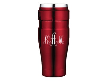 Engraved Thermos Stainless King 16oz Travel Tumbler - Custom Engraved Stainless Steel Thermos Brand Mug - Personalized Coffee Travel Mug