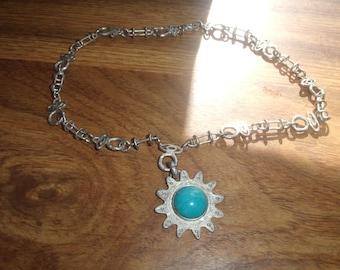 vintage necklace silvertone designed chain faux turquoise