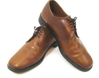 Cognac Brown Shoes Leather Shoes Brown Oxfords Brown Mens Shoes Leather Lace Up Mens Shoes Size 8 Oxfords Blucher Oxford Shoe