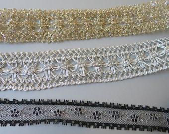 3 Vintage Metallic Sewing Trims Gold Slver Black 5+ Yards 332a