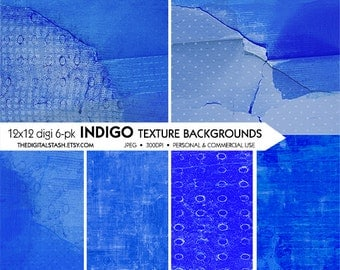 Indigo Blue Textured Papers - Artsy Digital 6 Pack - INSTANT DOWNLOAD - for Scrapbooking, Decoupage, Journaling, Collage, Crafts