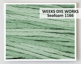 SEA FOAM 1166  : Weeks Dye Works WDW hand-dyed embroidery floss cross stitch thread at thecottageneedle.com    seafoam