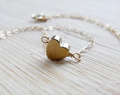 Gold Heart Necklace, Simple Bridesmaids Necklace, Minimalist Bridal Jewelry, Mothers Necklace