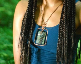 Rectangle necklace - Green Kambaba Jasper and Copper Pendant - statement necklace