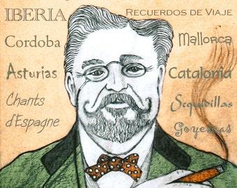 Isaac ALBENIZ - a portrait art print of the great Spanish composer