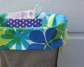 Turquoise Blue and Lime with Purple dots Bicycle Basket Liner