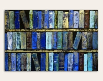 Blue Library Books Abstract Art Large Poster Wall Art