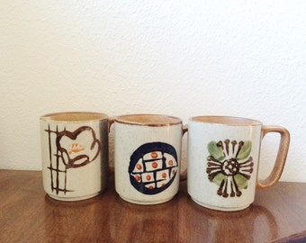 70s vintage Stoneware mugs